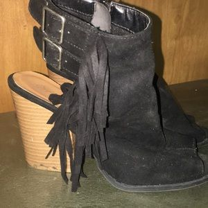Shoes - Ankle boots- open toe and heel fringe side